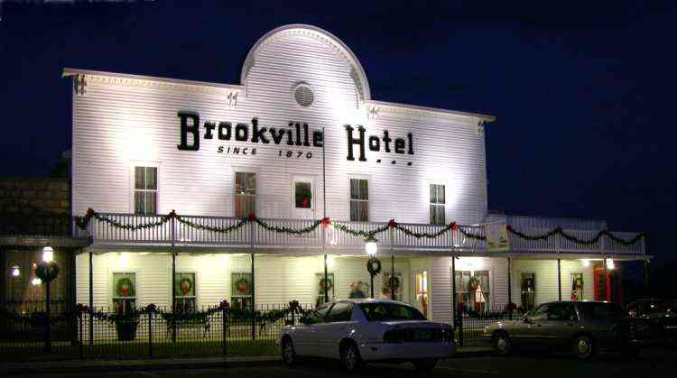 Brookville Hotel at night