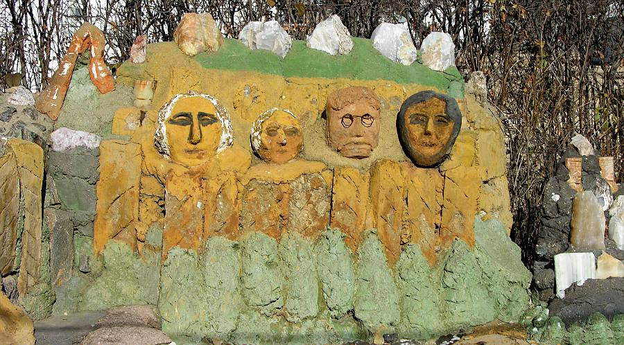 Mount Rushmore at Florence Deeble's Rock Garden in Lucas, Kansas