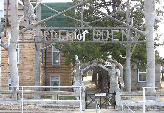 Adam and Eve at entrance to Garden of Eden - Lucas, Kansas