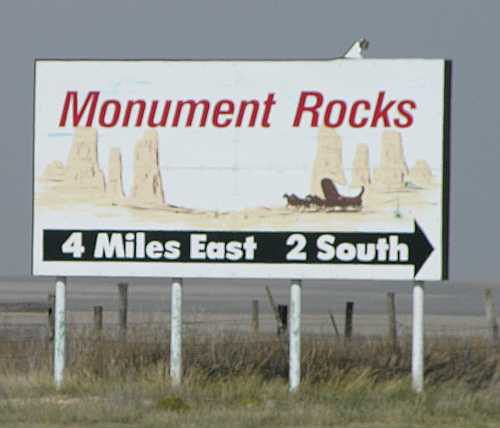 Monument Rocks sign