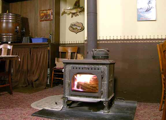 wood stove in Bunker Hill Cafe