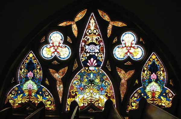 Protestant chapel stain glass window
