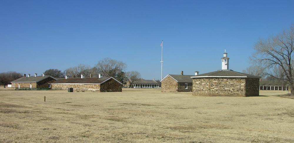 Blockhouse and limestone buildings at Fort Larned Kansas