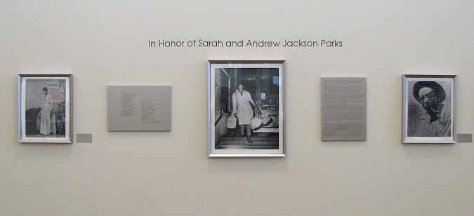Lobby display in honor of Sarah and Andrew Jackson Parks
