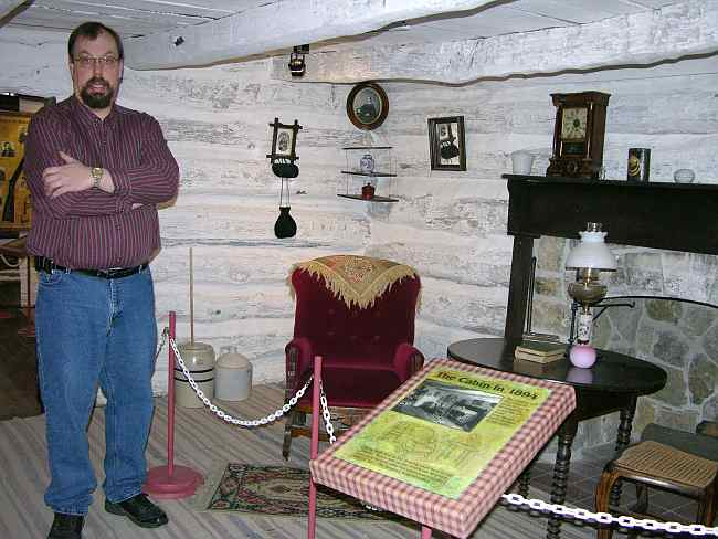Interior of cabin at the John Brown Museum