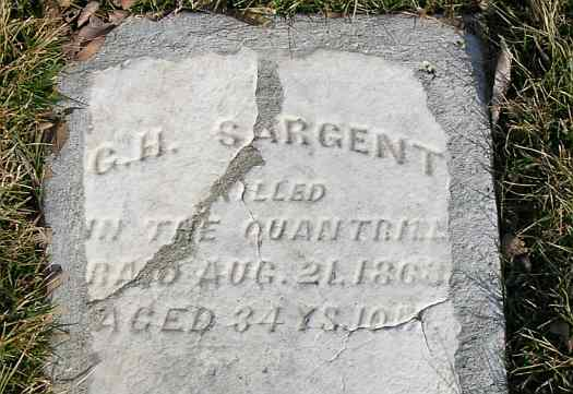G, H, Sargent's headstone in Lawrence, Kansas