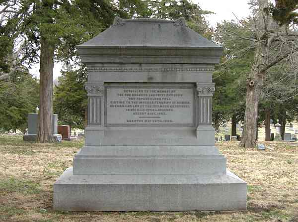 Quantrill's raid monument in Lawrence's Oak Hill Cemetery