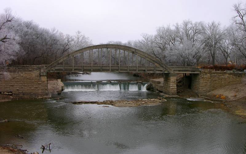 Soden's Dam Falls and Soden's Grove Bridge in winter