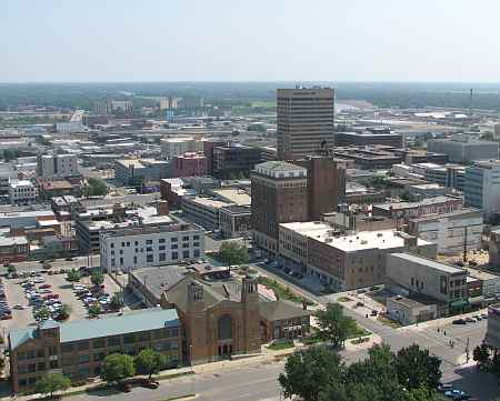 View of Topeka, Kansas from the Kansas State Capitol Dome.
