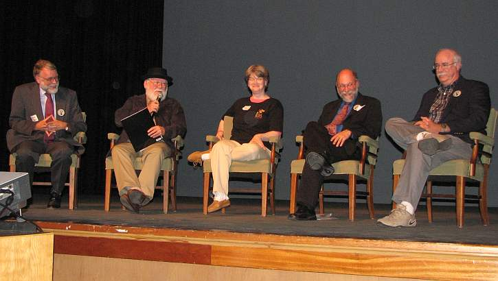 Frank Scheide, James M. Welsh, Tracey Doyle, Thomas Prasch, John Carter Tibbetts on stage at Buster Keaton Celebration.