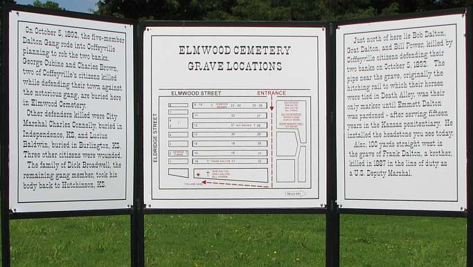Elmwood Cemetery map to Dalton gang graves