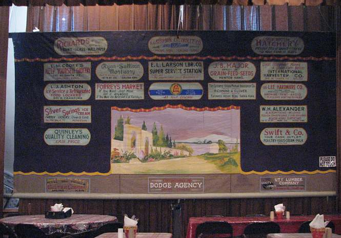 School stage curtain at Hickory Tree Restaurant