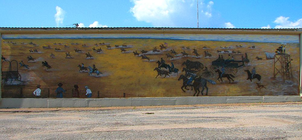 Cherokee Strip Land Rush mural