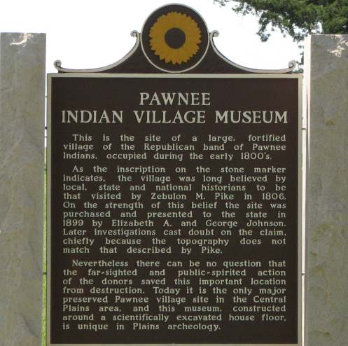 Pawnee Indian Village Museum Historic Marker