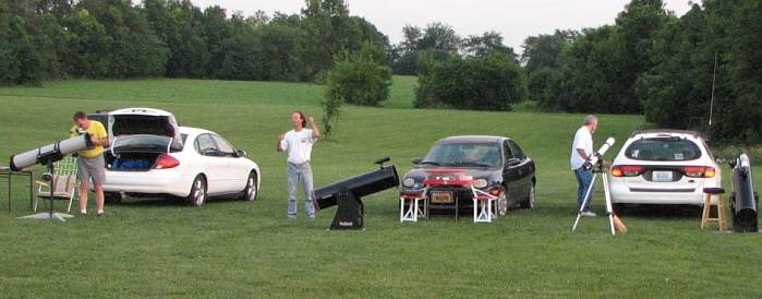 members of the Kansas City Astronomical Society with their telescopes.