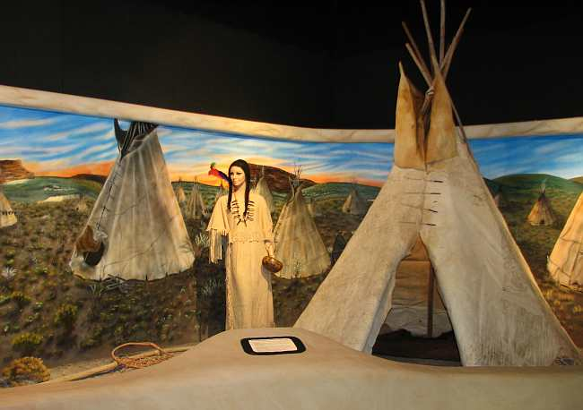 Plains Apache Indian encampment in El Quartelejo Museum