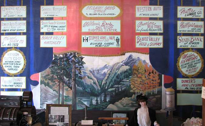 High School Stage curtain at Rawlins County Museum.