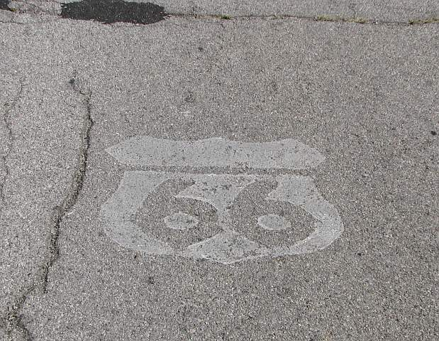 Route 66 logo painted on historic Route 66