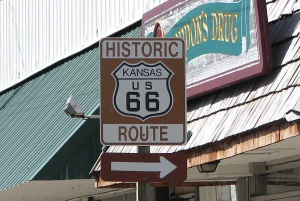 Kansas US 66 Historic Route sign.