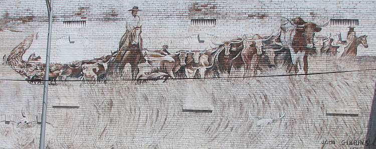 Cattle Drive mural at Bilke's Western Museum