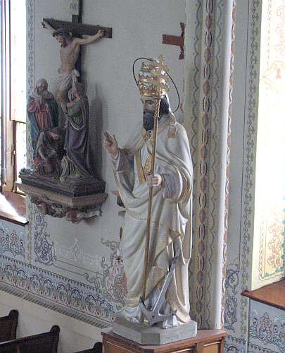 Statue of St. Clement at St. Mary's Catholic Church in St. Benedict, Kansas