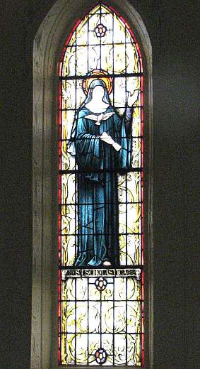 St. Scholastica stain glass window