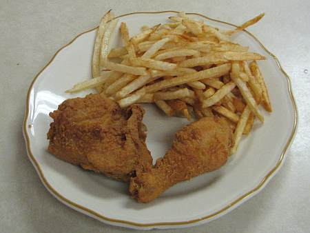 Chicken dinner at the Chicken House in Olpe, Kansas.