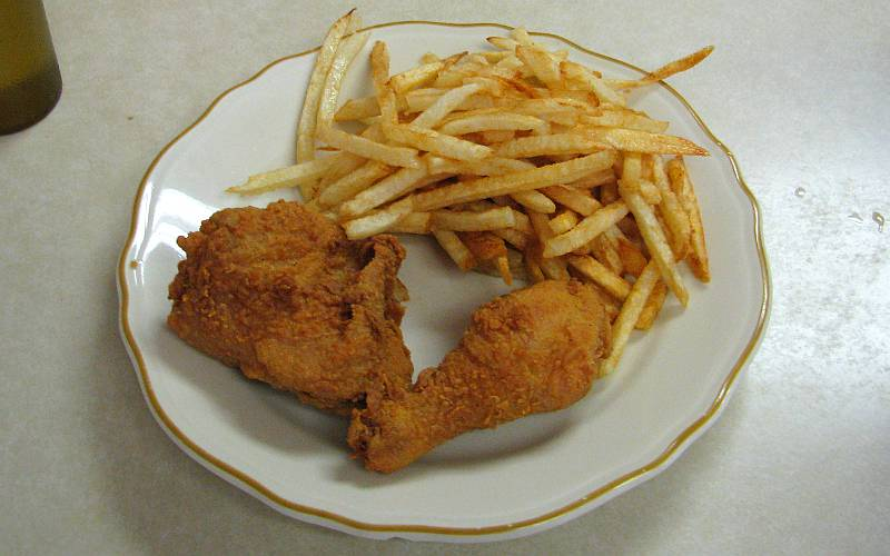 fried chicken diner at the Chicken House in Olpe, Kansas