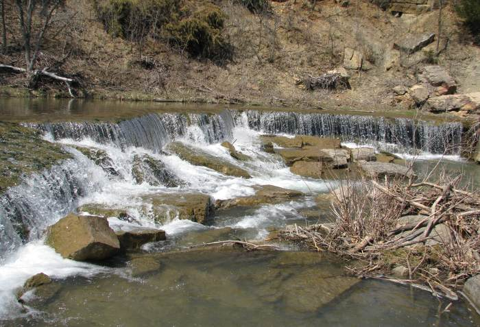 Deep Creek Waterfall at Pillsbury Crossing Wildlife Area near Manhattan, Kansas.