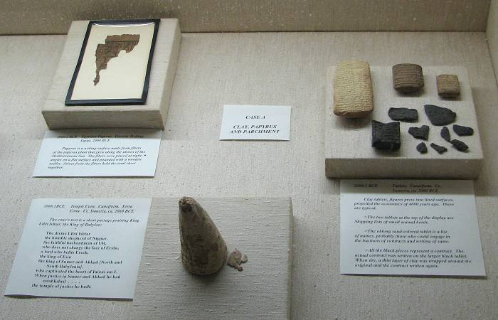 Egyptian papyrus, Temple Cone, cuneiform clay tablets