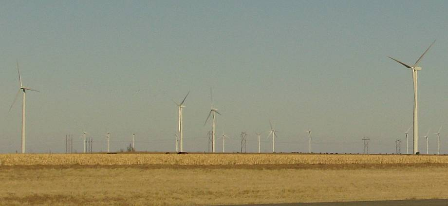 Smoky HIll wind farm as seen from I-70