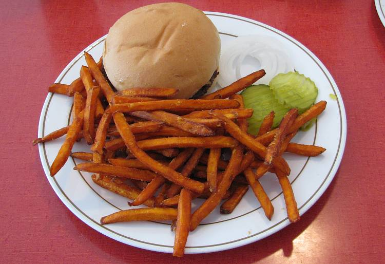 Cheese burger and sweet potato fries at the Sommerset Hall Cafe.