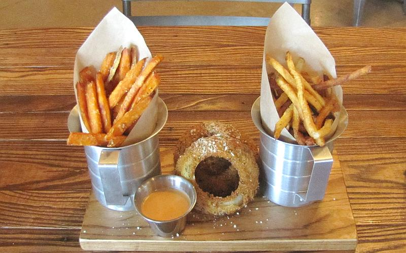 French fries, onion rings and sweet potato fries