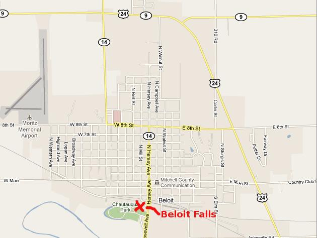 Beloit Falls Map - Beloit, Kansas