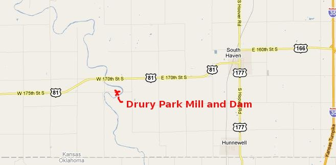 Drury Dam Waterfall Map - Caldwell, Kansas