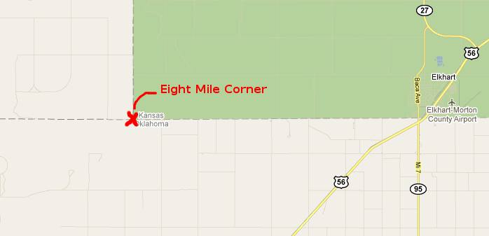 Eight Mile Corner Tripoint Map - Elkhart, Kansas