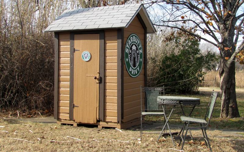 Starbuck's themed outhouse