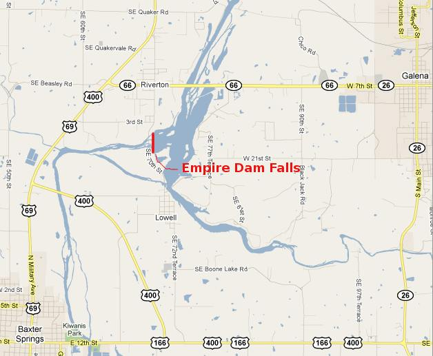 Empire Power Dam Falls Map - Riverton, Kansas