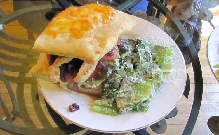focaccia club sandwich at Lyons Twin Mansions