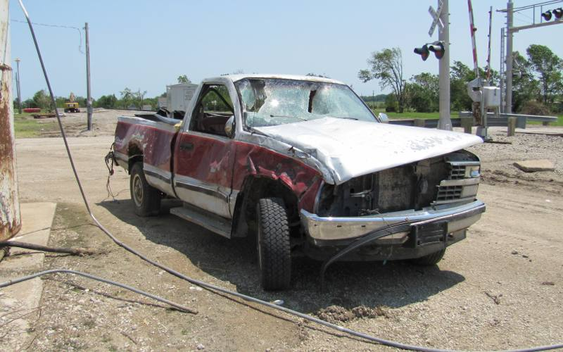 Tornado damaged pickup truck