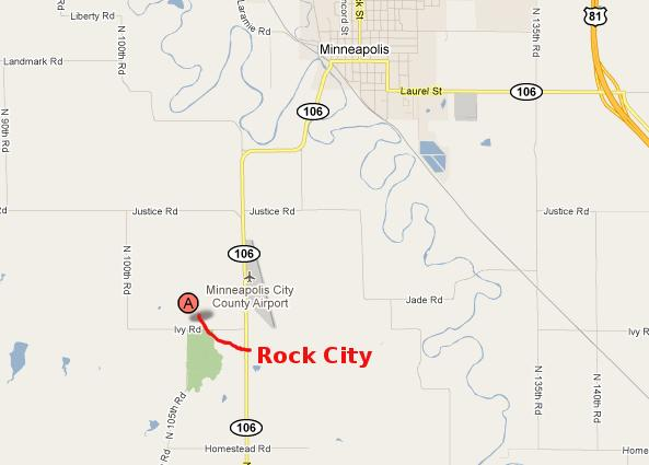 Rock City Map - Minneapolis, Kansas