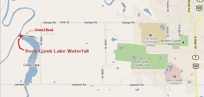 Rock Creek Lake Waterfall Map - Fort Scott, Kansas