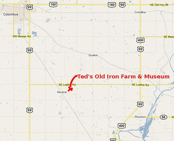 Ted's Old Iron Farm Map - Columbus, Kansas