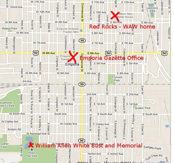 Map to William Allen White in Emporia, Kansas