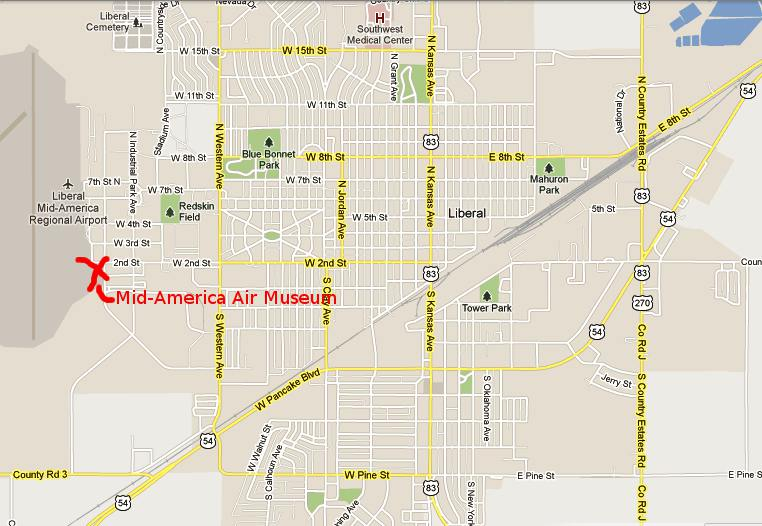 Mid-America Air Museum Map - Liberal, Kansas
