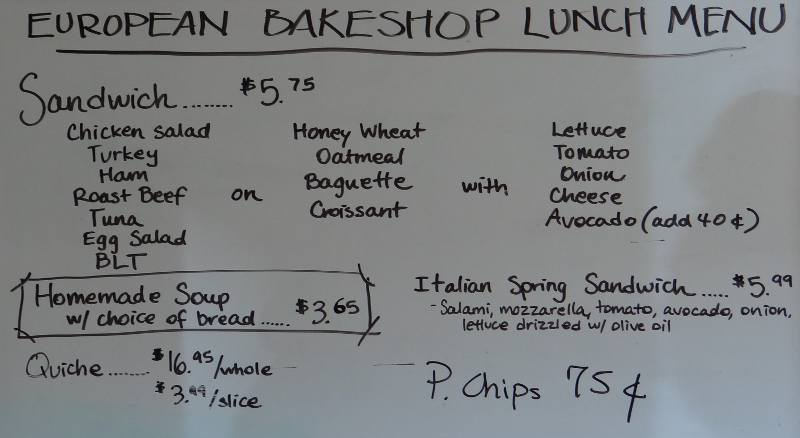 European BakeShop Menu - Hartford, Kansas