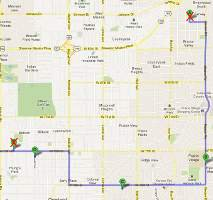 Map to Prairie Village, Kansas Christmas displays