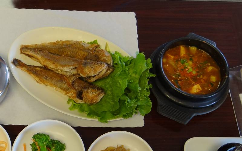 grilled fish and soybean stew