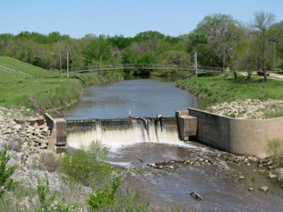 Riverside Park Bridge and Falls - Halstead, Kansas