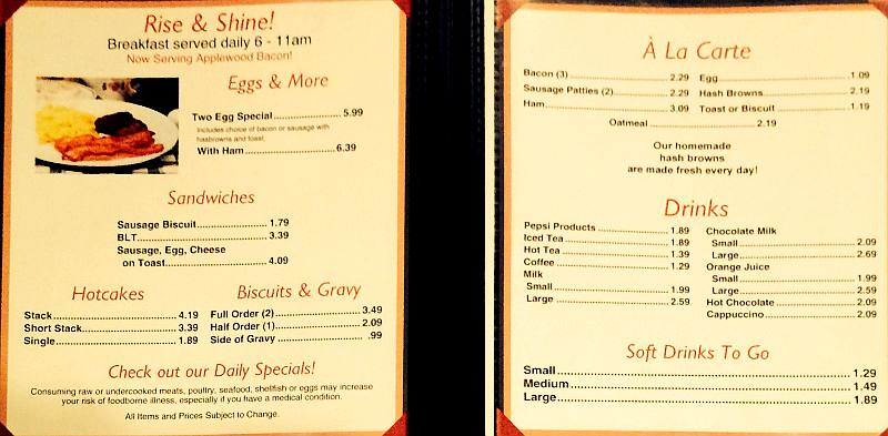 Nu Grill breakfast menu